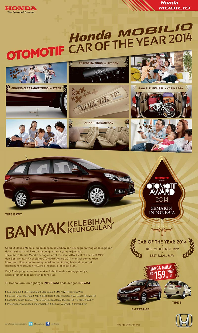 Honda Mobilio Raih Gelar Car Of The Year 2014 Di Ajang Otomotif Award