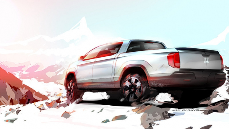 New Honda Ridgeline previewed in sketch